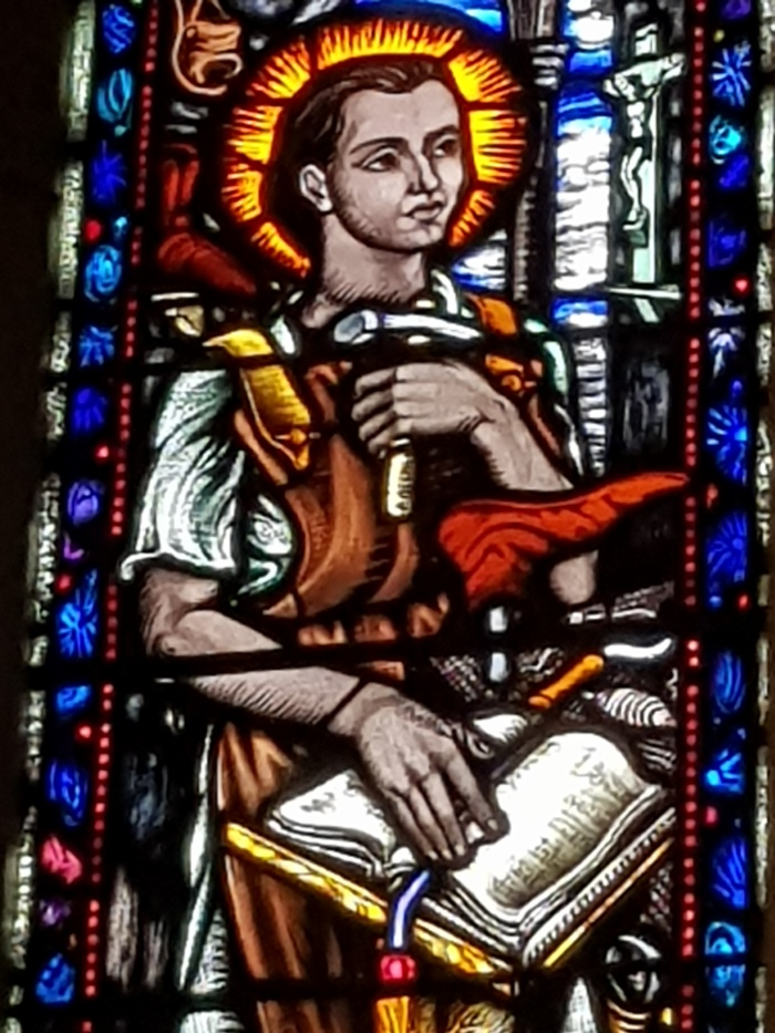 A cobbler in stained glass: St Crispin from St Peter and Paul's, Clonmel, courtesy of Munster Shoes Limited