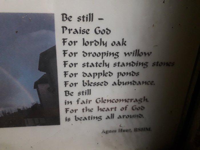 """Be Still"", Agnes Hunt RHSM – poem in Glencomeragh, CoWaterford."